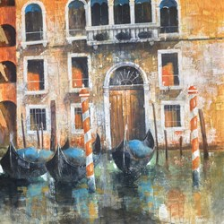 i colori Di Venezia by Paolo Fedeli - Original Painting on Stretched Canvas sized 28x28 inches. Available from Whitewall Galleries